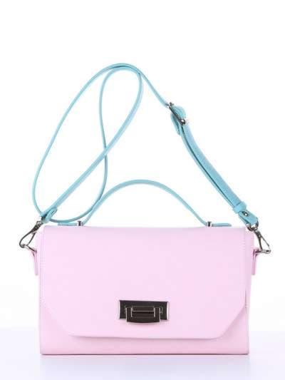 Стильная деловая сумочка, модель E18011 гортензия-мята. Фото товара, вид спереди._product-ru