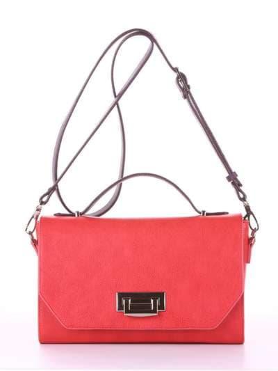 Брендовая деловая сумочка, модель E18013 красный-баклажан. Фото товара, вид спереди.