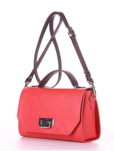 Брендовая деловая сумочка, модель E18013 красный-баклажан. Фото товара, вид сбоку.