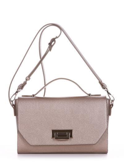 Стильная деловая сумочка, модель E18018 золотая олива. Фото товара, вид спереди.