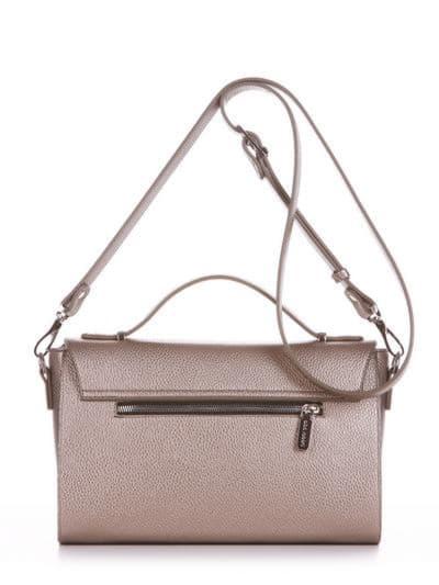 Стильная деловая сумочка, модель E18018 золотая олива. Фото товара, вид сзади.