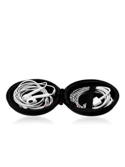 Стильный чехол для наушников круглый летучая мышь черный. Фото товара, вид 2