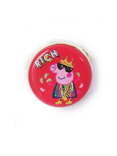 Брендовый чехол для наушников веселая свинка красный. Фото товара, вид 1