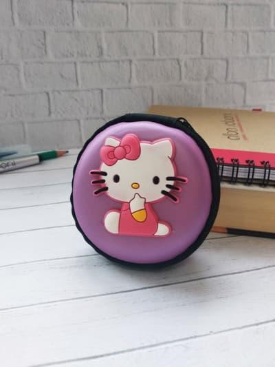Модный чехол для наушников круглый котенок лиловая дымка. Фото товара, вид 1