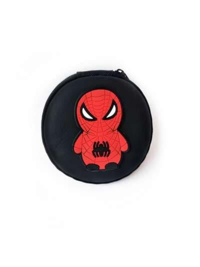 Стильный чехол для наушников круглый паук черный. Фото товара, вид 1