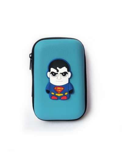 Брендовый чехол для наушников супер-герой светло-синий. Фото товара, вид 1