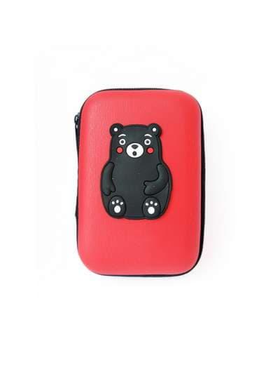 Стильный чехол для наушников медвежонок красный. Фото товара, вид 1