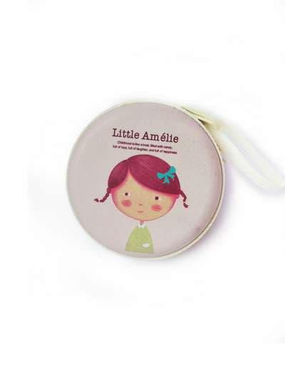 Брендовый чехол для наушников с девочкой пудрово-розовый. Фото товара, вид 1