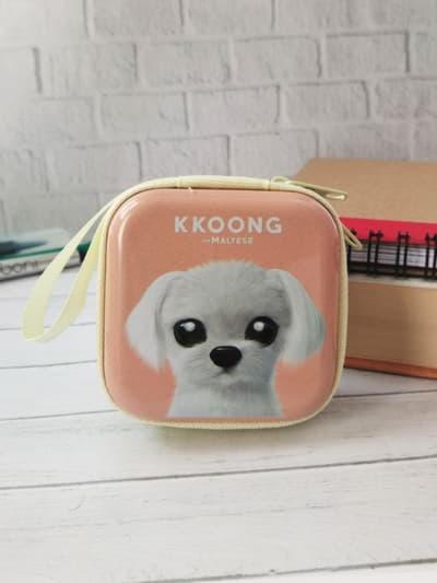 Молодежный чехол для наушников щенок kkoong квардатный персиковый. Фото товара, вид 1