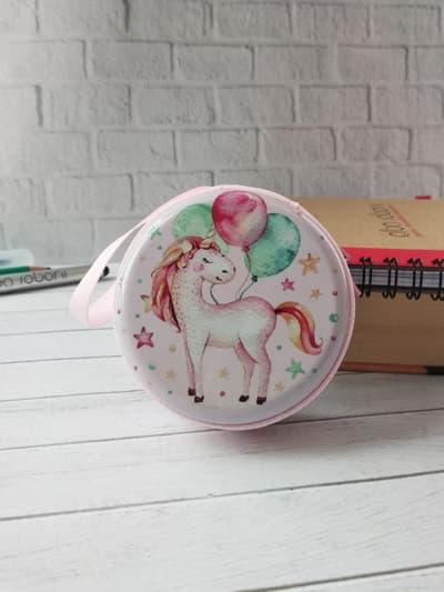 Молодіжний чохол для навушників єдиноріг з кульками круглий рожевий. Фото товару, вид 1