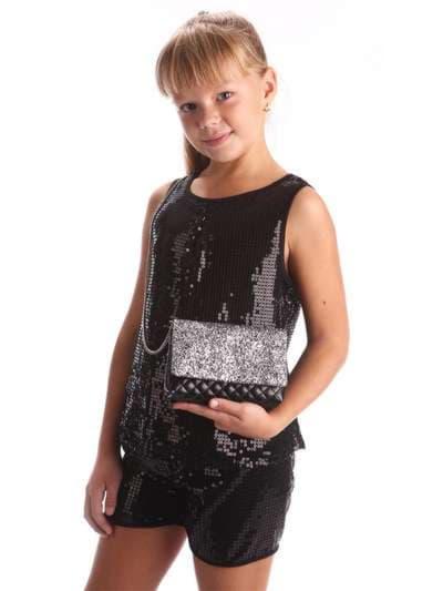 Стильная детская сумочка, модель 1921 черный. Фото товара, вид спереди.