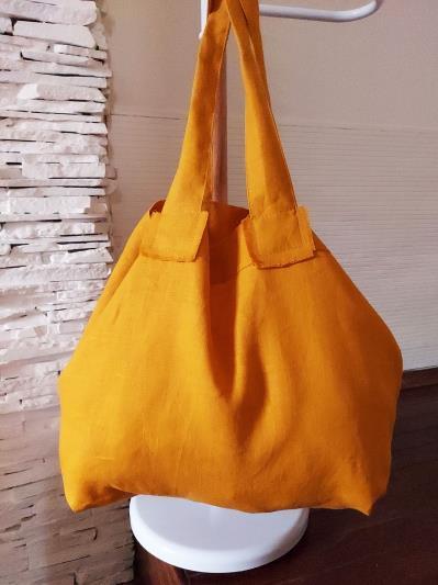 Фото товара: лляна сумка гірчична. Вид 4.