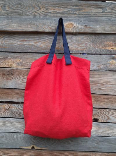 Фото товара: лляна сумка червона. Вид 3.