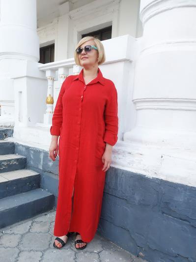 alba soboni. Лляна сукня - сорочка червона. Вид 1.