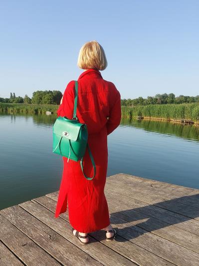 alba soboni. Лляна сукня - сорочка червона. Вид 2.