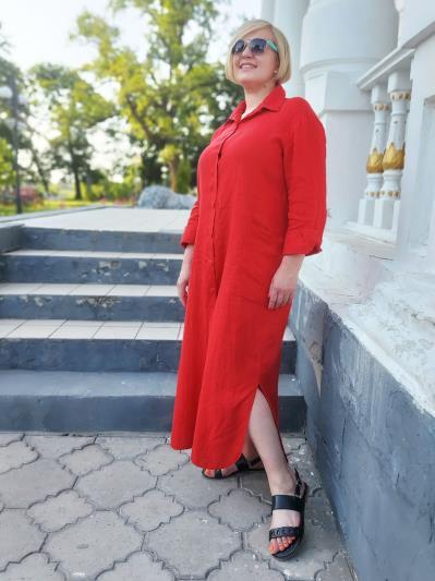 alba soboni. Лляна сукня - сорочка червона. Вид 3.