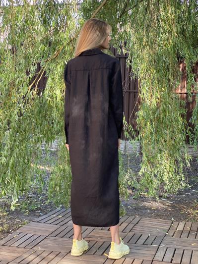 Фото товара: лляна сукня - сорочка чорна. Вид 3.