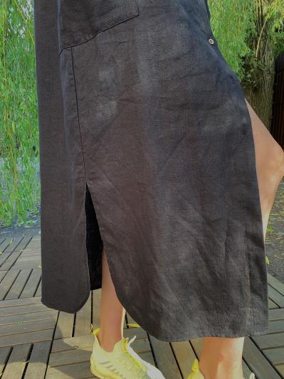Фото товара: лляна сукня - сорочка чорна. Вид 5.