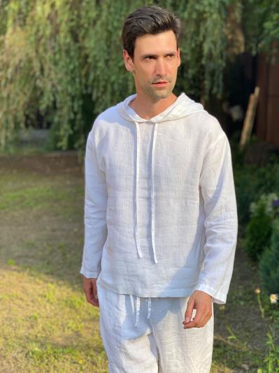 Фото товара: лляне чоловіче худі біле. Вид 3.