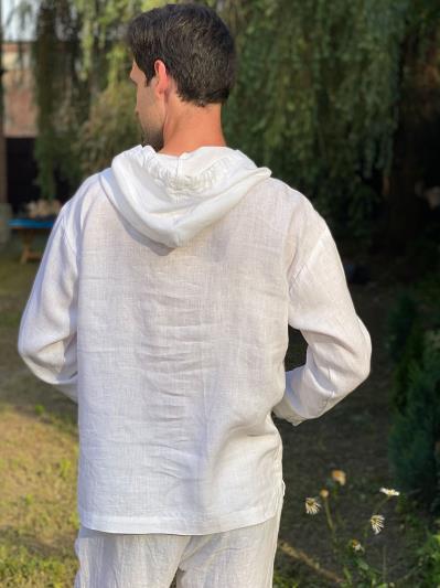 Фото товара: лляне чоловіче худі біле. Вид 4.
