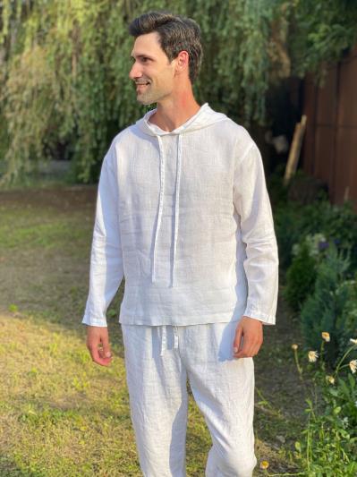 Фото товара: лляне чоловіче худі біле. Вид 6.