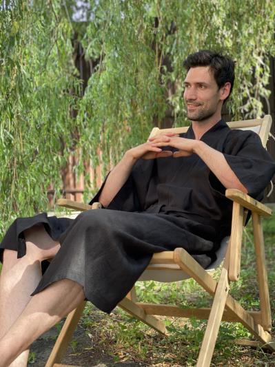 Фото товара: чоловічий лляний халат