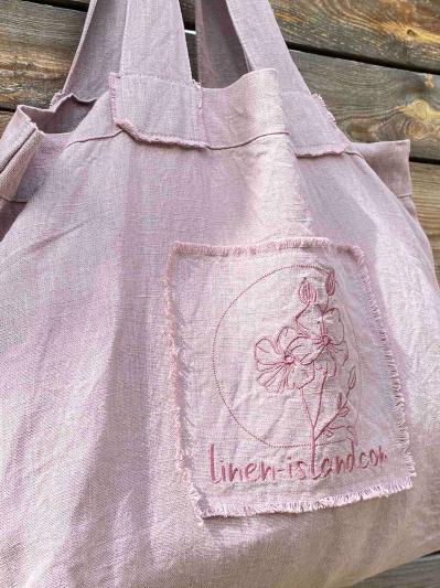 linen island. Лляна сумка пудрово-рожева. Вид 2.