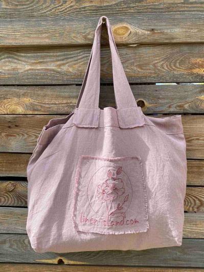 linen island. Лляна сумка пудрово-рожева. Вид 3.