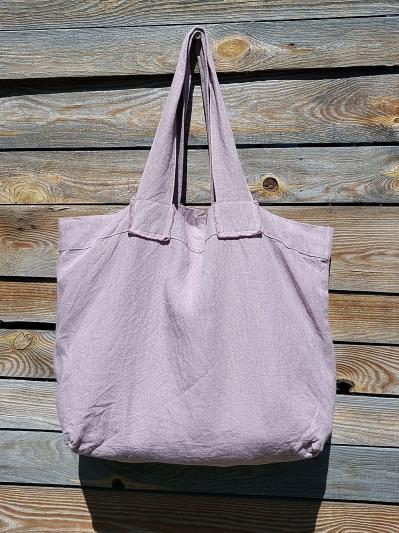 linen island. Лляна сумка пудрово-рожева. Вид 4.
