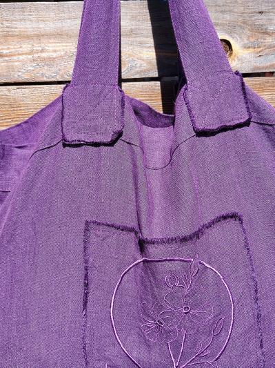 Фото товара: лляна сумка фіолетова. Вид 2.