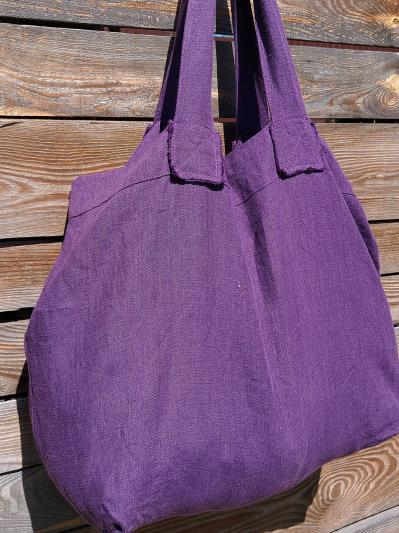 Фото товара: лляна сумка фіолетова. Вид 3.