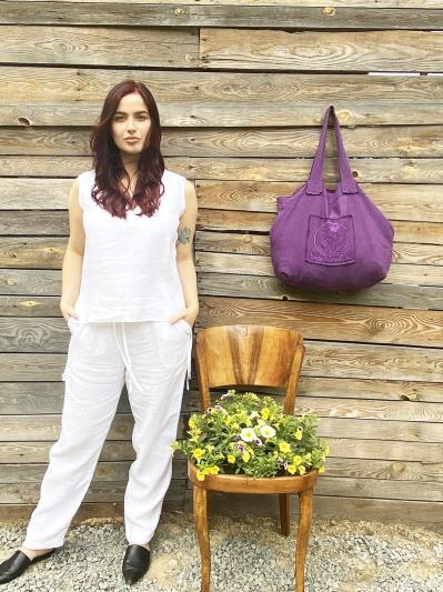 Фото товара: лляна сумка фіолетова. Вид 4.