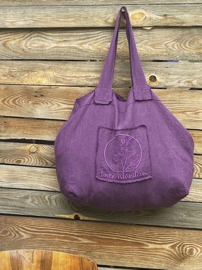 Фото товара: лляна сумка фіолетова. Вид 5.