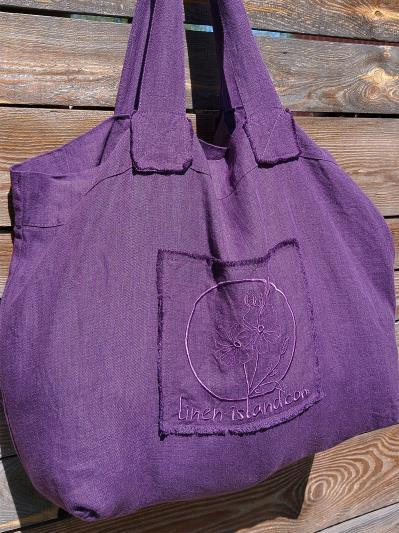 Фото товара: лляна сумка фіолетова. Вид 6.
