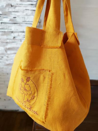 Фото товара: лляна сумка гірчична. Вид 2.