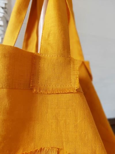 Фото товара: лляна сумка гірчична. Вид 5.