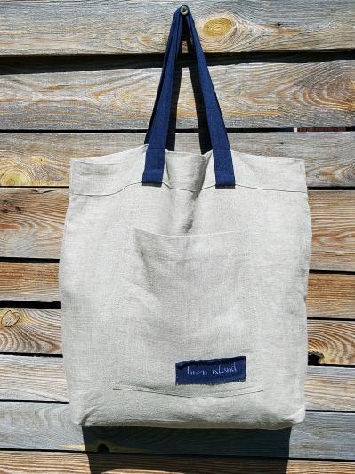 linen island. Лляна сумка натуральний колір екрю. Вид 1.