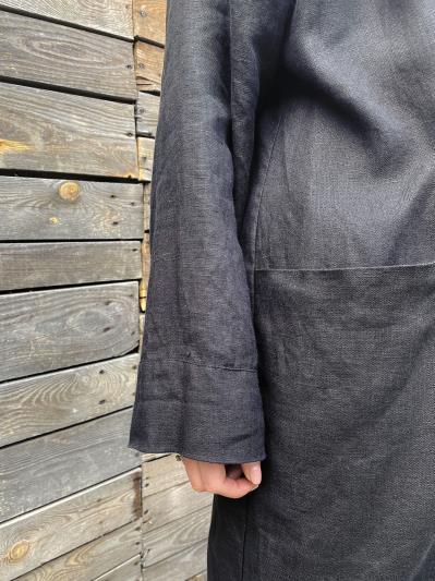 Фото товара: лляний літній кардиган чорний. Вид 6.