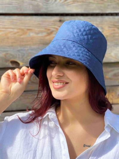 Фото товара: лляна жіноча панама темно-синя. Вид 3.