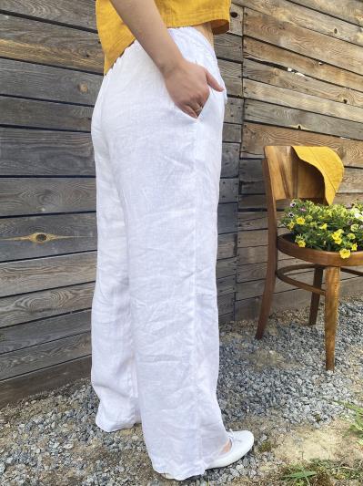 linen island. Лляні штани Палаццо білі. Вид 2.