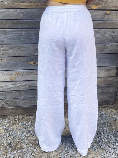 linen island. Лляні штани Палаццо білі. Вид 4.
