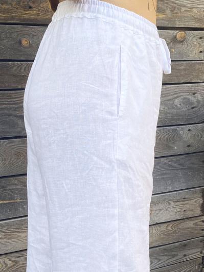linen island. Лляні штани Палаццо білі. Вид 5.