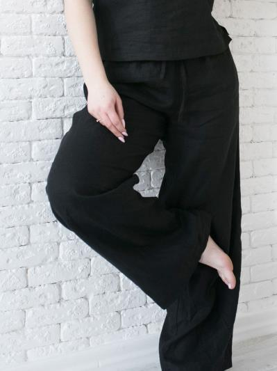 linen island. Лляні штани Палаццо чорні. Вид 2.