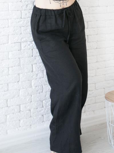 linen island. Лляні штани Палаццо чорні. Вид 6.