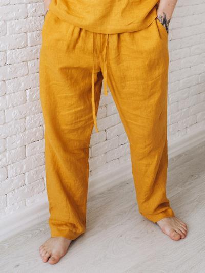 linen island. Мужские льняные штаны горчичные. Вид 1.