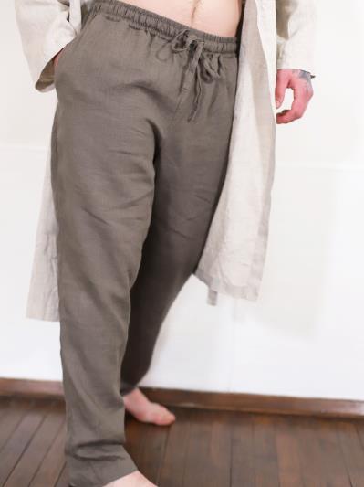 linen island. Мужские льняные штаны серые. Вид 1.