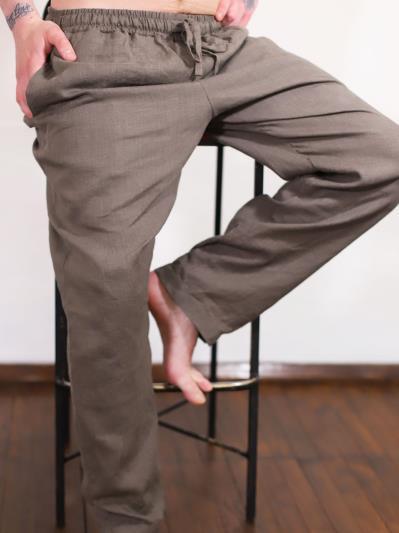 linen island. Мужские льняные штаны серые. Вид 3.
