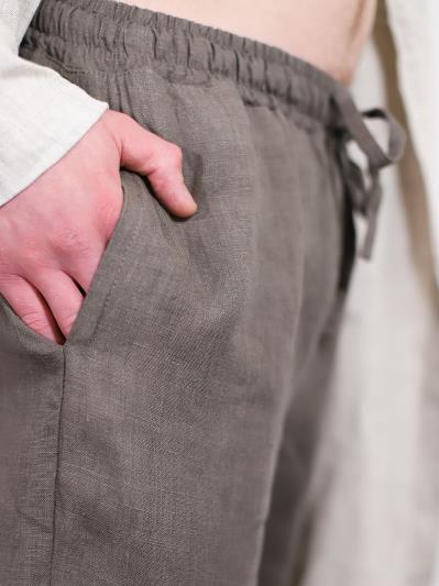 linen island. Мужские льняные штаны серые. Вид 4.