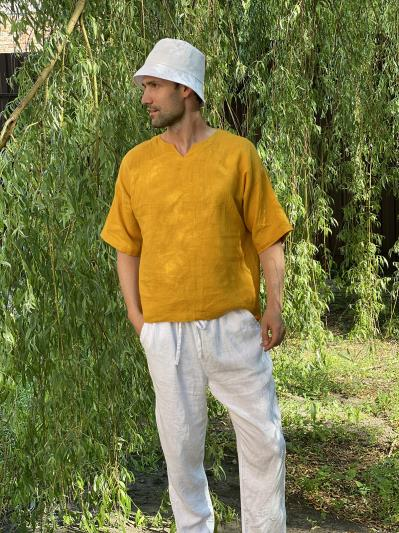 linen island. Лляна чоловіча футболка гірчична. Вид 1.