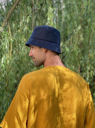 linen island. Лляна чоловіча футболка гірчична. Вид 3.